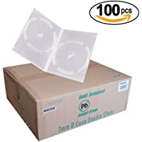 Maxtek 7mm Slim Clear Double CD/DVD Case, 100 Pieces Pack. (2 Discs Capacity per Case)