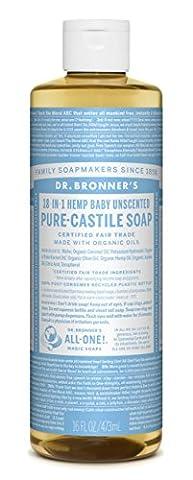 Dr. Bronner's Pure-Castile Liquid Soap - Baby Unscented 16oz. (16 Oz Plastic Cylinder Bottles)