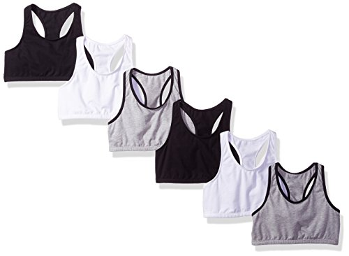 6 Pack of Fruit of the Loom Big Girl's Cotton Built-up Sport Bras $9.98 ($21.99 Retail)