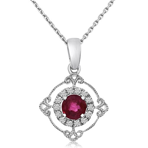 0.30 Carat (ctw) 14k White Gold Round Red Ruby and Diamond Women's Circle Pendant with 18