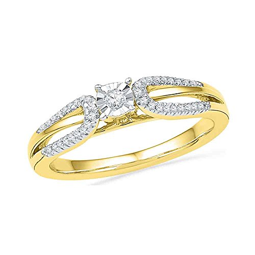 10kt Yellow Gold Womens Round Diamond Solitaire Open-shank Bridal Wedding Engagement Ring 1/6 Cttw (Ring Shank Open Rounds)