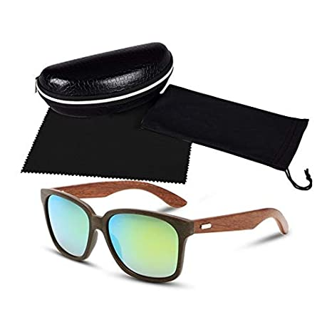 Amazon.com: Kasuki Rays Designer Wooden Frame Sunglasses ...