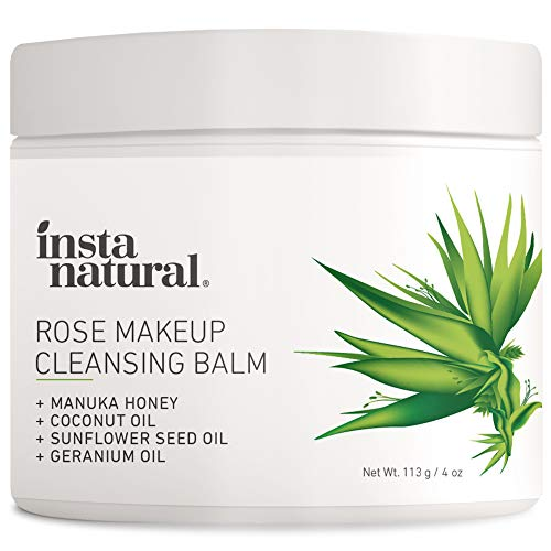 InstaNatural Rose Cleansing Balm – Natural Facial Cleanser Instantly Removes Waterproof Mascara & Face Makeup – Gently Double Cleanses and Purifies Skin – 4 oz