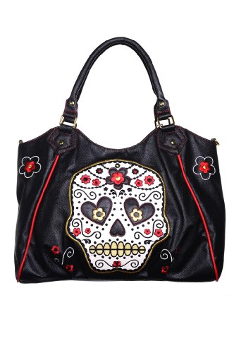 NEW BLACK BLACK TATTOO BANNED BAG SKULL SUGAR LEATHER FAUX ROCKABILLY SHOULDER pBTFq