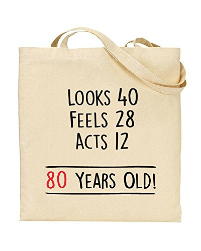 80 at Years Eighty by Old TOTE Novelty Bag Handbag Gift 80th Shopping Awesome TeeDemon Birthday XqxfEwFEIA
