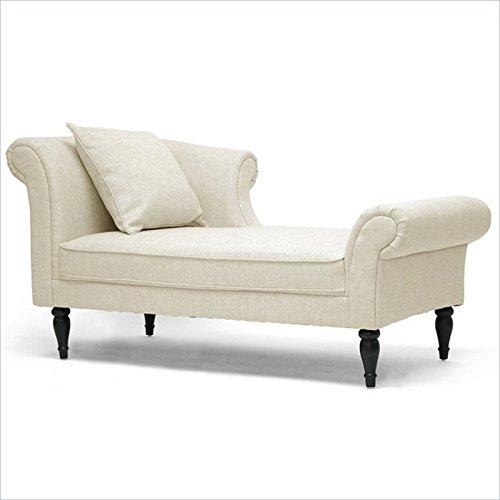 Cheap Baxton Studio Lucille Linen Victorian Chaise, Beige