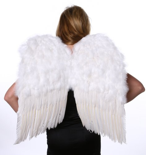 ZUCKER Feather Cosplay Angel Wings for Adults, 23.5x22 Inch White Feather Wings, Halloween Costume Medium Angel Wings, White Feather Angel Wings -