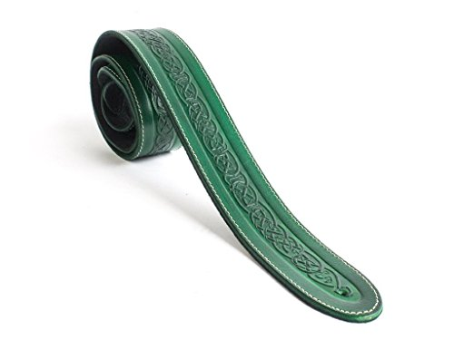 2 Inch Guitar Strap Green - LeatherGraft XL Emerald Green Genuine Leather Celtic Knot Pattern Design 2