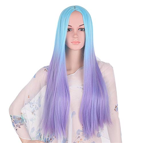 Nueva peluca de 24 pulgadas de largo pelo recto degradado (azul a morado) capucha química de fibra simulación de moda...