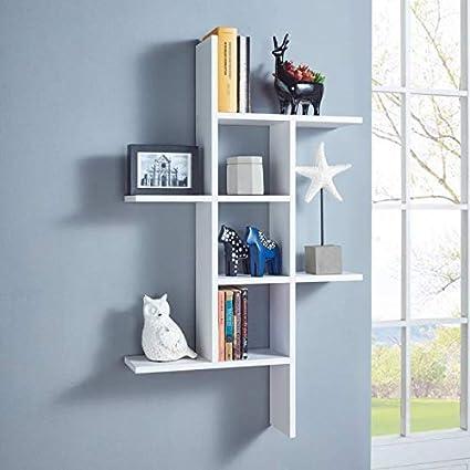 Onlinecraft Wall Shelf Rack Latest Design Shelves For Home Decor Living Room Office White Amazonin Kitchen