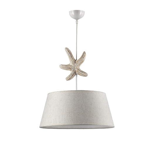 ONLI Lámpara de techo con pantalla de tela color marfil y ...