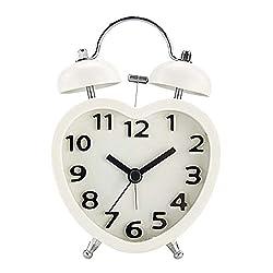Kaimao 3 Mini Non-ticking Bedside Alarm Clock, Battery Operated Travel Clock, Twin Bell Loud Alarm Clock( 3D White)