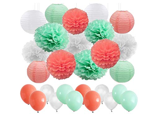 45 pcs Mint Green Coral White Tissue Paper Flowers Ball Pom Poms Paper Lanterns Balloons for Coral Themed Party Decor Wedding Marquee Christening Baby Shower Hen Party Garland Decoration Favor