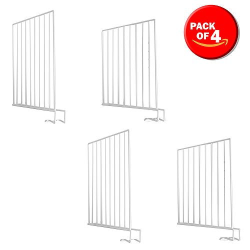 (Home Basics Easy Clip Closet Organizers Shelf Divider for Tees, Shirts, Sweaters, Linen, Towels, Purses Etc. Space Saver and Separator, White, Wire Steel, Set of 4)