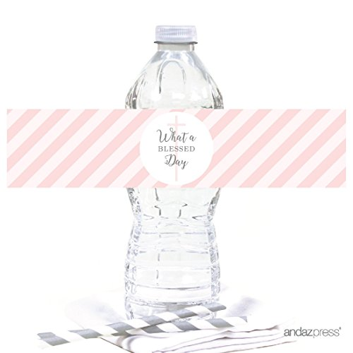 Andaz Press Blush Pink and Gray Baby Girl Baptism Collection, Water Bottle Label Stickers, -