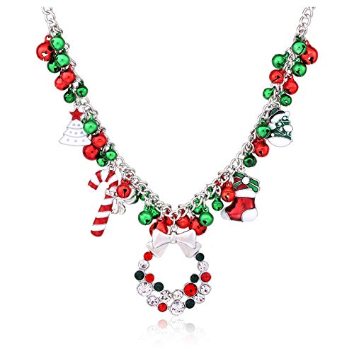 NLCAC Christmas Jingle Bell Necklace Women Christmas Ornament