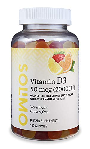 Amazon Brand – Solimo Vitamin D3 2000 IU, 160 Gummies (2 Gummies per Serving)