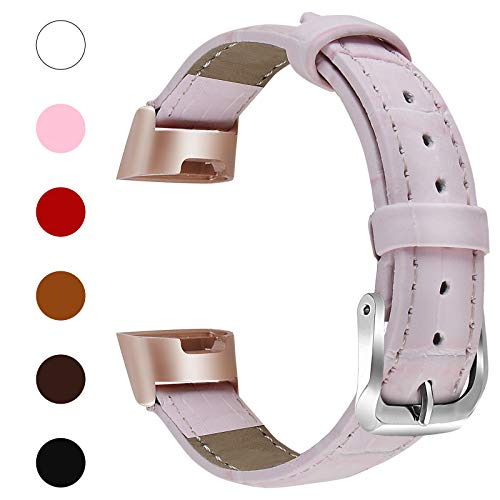Fitlink Bands Compatible Fitbit Charge 3&Charge 3 SE for Women Men, Classic Genuine Leather Wristbands with Metal Connectors Replacement Accessories for Fitbit Charge 3, Multi Colors, Small Large