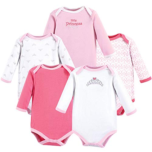 Luvable Friends Unisex Baby Long Sleeve Cotton Bodysuits, Tiara 5 Pack, 3-6 Months (6M) (3 Girl Best Friends)