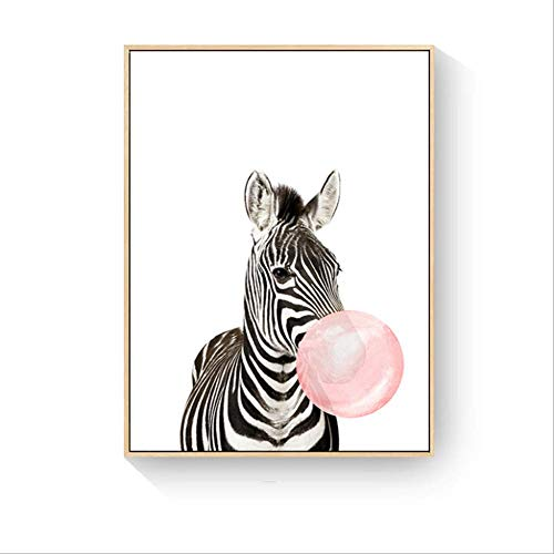 QJXX Paintings Animal with Bubble Gum Contemporary Prints On Canvas for Living Room Home Decor Hotel Office Gift Framework Wall Art (G Plan Dining Room Furniture)
