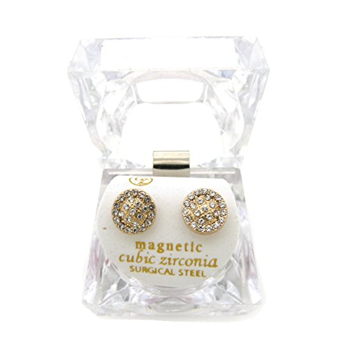 Gold, Silver Tone 10mm Rhinestone Round Shape Magnetic Stud Earring XE1138 (Gold (Hip Hop Magnetic Earrings)