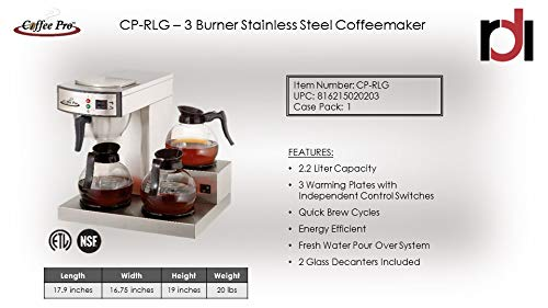 Three Burner Low Profile Commerical Coffee Brewer by CoffeePro (Image #2)