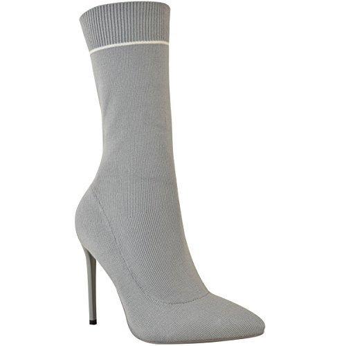 Fashion Thirsty Mujer Botines de Mujer Elástico Calcetines Fit Tacón Aguja Pantorrilla Tacón Alto EN Punta Talla Gris Punto