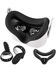 Oculus Quest 2 Silicone Rift Cover and Knuckle Grip 2 pcs, Washable Face Pad Cushion Accessories Bundle Sweatproof & Light Blocking-Black