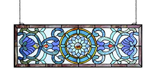 (Yogoart Extra Large Horizontal 35 Inch Blue Victorian Stained Glass Window Panels Hanging Transom Window 12 Inch Wide)