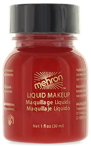 Mehron Makeup Liquid Face & Body Paint, RED - 1oz (Quickly Clown Costume)