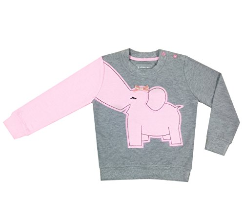 Sweatshirt Kids Birthday (DRAGON VINES Toddler Elephant Shirts, Elephant Nose Long Sleeve T Shirt Pajamas Sweatshirts, Kids Birthday Gift (5T, Gray with Baby Pink))