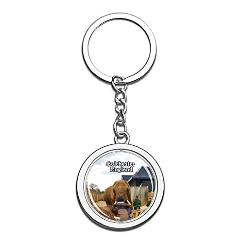 Colchester Zoo UK England Keychain 3D Crystal Creative Spinning Round Stainless Steel Keychain Travel City Souvenir Collection Key Chain Ring