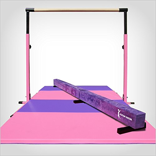 Pink Adjustable (3′-5′) Horizontal Bar and 8ft Folding Mat Balance Beam Combo Gym Set
