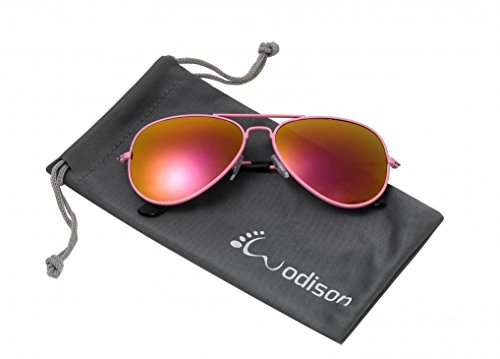 WODISON Classic Kids Aviator Sunglasses Reflective Metal Frame Children Eyeglass Pink Frame Red ()
