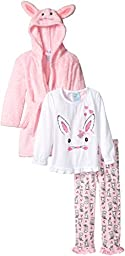 Bunz Kidz Little Girls\' Bunny Hop Robe and 2pc Pajama Set, Pink, 6