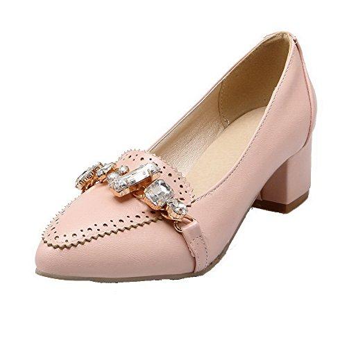 Pumps Pink Damen AllhqFashion Zehe Mittler Spitz Leder Ziehen Absatz Rein auf Schuhe PU H771cvp