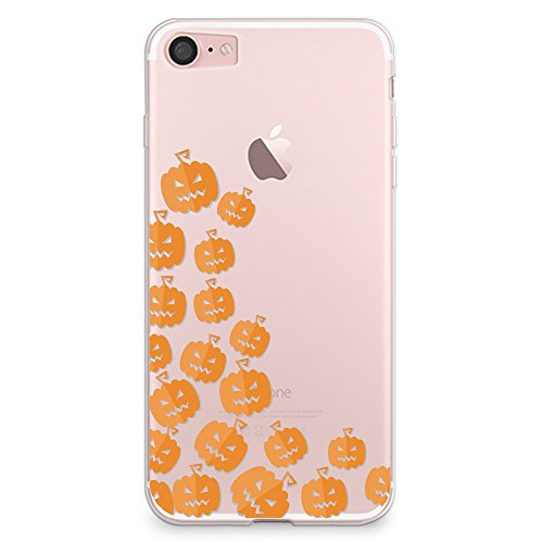 Cute Halloween Pumpkins Ideas (iPhone 8 Case, iPhone 7 Case, CasesByLorraine Halloween Cute Pumpkins Clear Transparent Case Flexible TPU Soft Gel Protective Cover for Apple iPhone 7 & iPhone 8 (P111))