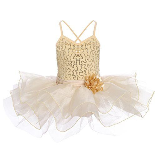 Girls Sequins Camisole Ballet Dance Tutu Dress Sleeveless Leotard Flower Ruffle Skirted Gymnastics Ice Skating Children Ballerina Glittering Dance Wear Costumes for Kids Toddler Champagne 3-4 Years