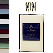 NIM Textile Luxury 1600 TC Softness Deep Pocket 3pc Fitted Sheet Sets MILANO Collection - Cream, Queen