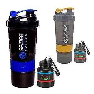 True Indian Super Combo Pack of 4 Spider Gym Shaker & Whey/Shaker Bottle/Protein Shaker Bottle & Gym Water Bottle | Gym…