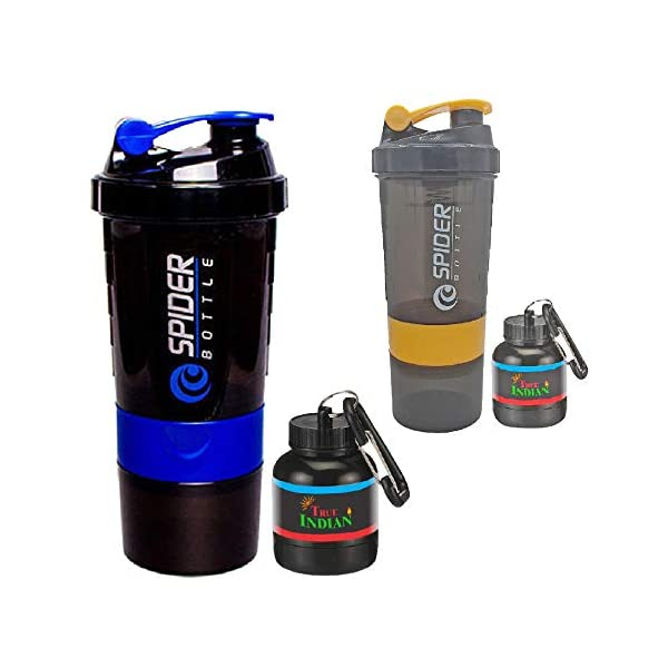 True Indian Super Combo Pack of 4 Spider Gym Shaker & Whey/Shaker Bottle/Protein Shaker Bottle & Gym Water Bottle   Gym… 2021 July Shaker Bottles are 100% Food grade material the most safe & healthy material for bottles which is BPA Free. Eco Friendly, safe for all. Widely use: It is large enough to keep your water all day when you are in gym, practice, class, hiking, Yoga or others sports. 100 % Leak proof, storage container, pill container, water bottle + shaker for preparation and saving time.