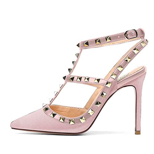 Chris-T Women Pointed Toe Studded Strappy Slingback High Heel Leather Pumps Stilettos Sandals Pink Suede Size 11 US ()