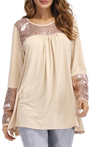 Symptor Ladies Flare Long Tunic Shirts With Sequin Patchwork O Neck Blouse Tops Beige M