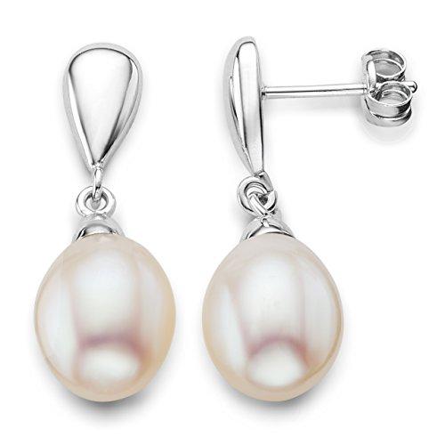 Miore - Boucles d'Oreilles pendantes - Or Blanc 9 carats 0.83 gr - Perle d'eau douce