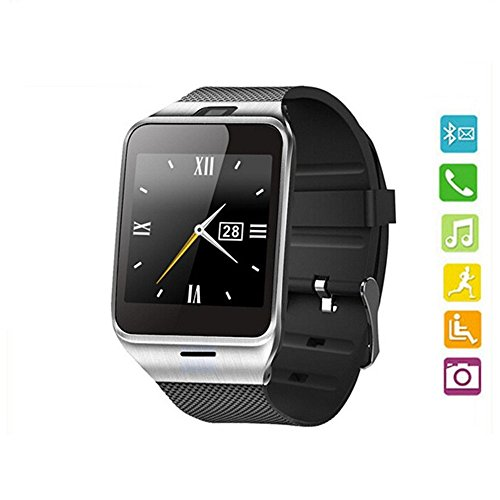 Efanr® GV18 Bluetooth Smart Watch Phone Mate Bracelet Wristband Activity Sport Exercise Fitness Sleep Tracker Pedometer Camera Support NFC SIM card for iPhone Samsung Android Smartphones -Black