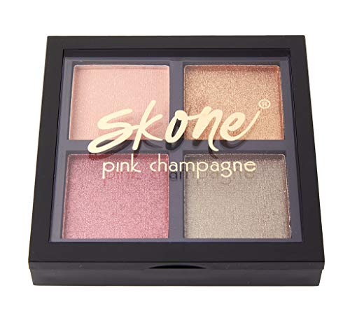 Pink Champagne Eyeshadow Quad Makeup – Featuring Skones Luxe Formula for Universally Flattering, Shimmery Shades of Beautiful Champagne Tones