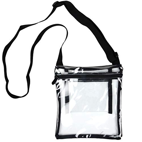 Youngever Deluxe Clear Cross-Body Purse, Stadium Approved Clear Vinyl Bag - Adjustable Cross-Body Strap Clear Plastic Bag, Larger Size, Extra Inside Pocket (1 Pack)