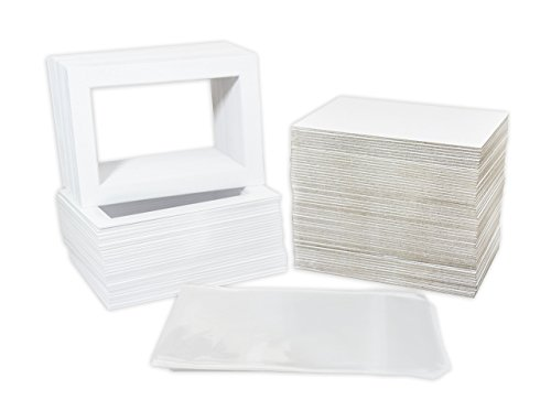 (Pack of 100 5x7 WHITE Picture Mats Mattes with White Core Bevel Cut for 4x6 Photo + Back + Bags)