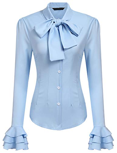Zeagoo Women Vintage Victorian Ruffle Long Sleeve Shirt Blouse Tops Light Blue S