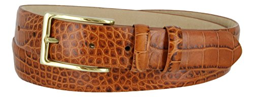 Adam Gold Men's Genuine Italian Calfskin Leather Dress Belt (36, Alligator Tan)